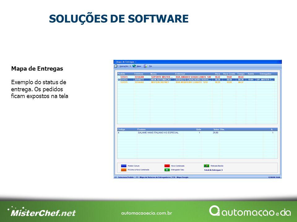 Mapa de Entregas Exemplo do status de entrega. Os pedidos ficam expostos na tela SOLUÇÕES DE SOFTWARE