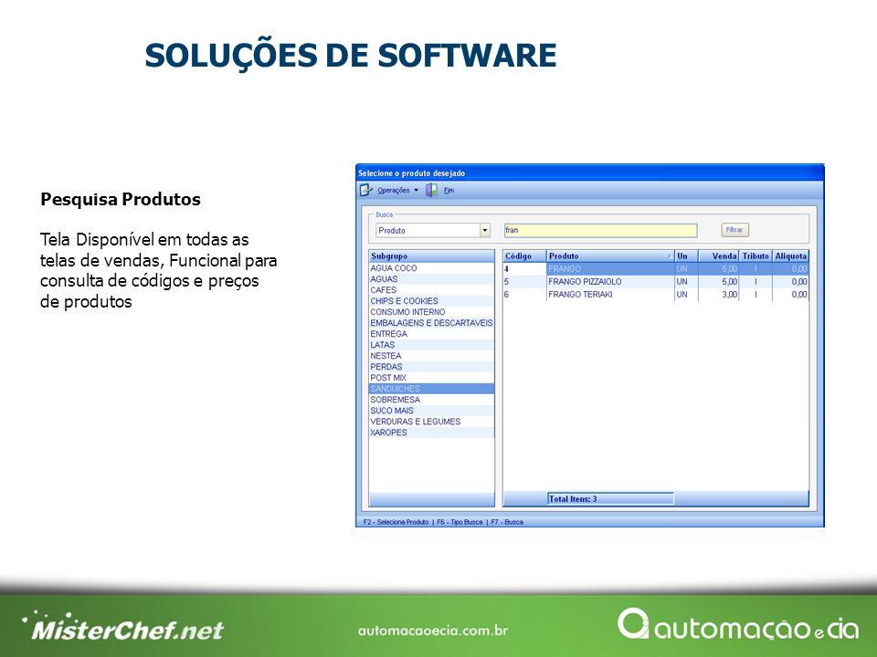 Pesquisa Produtos Tela Disponível em todas as telas de vendas, Funcional para consulta de códigos e preços de produtos SOLUÇÕES DE SOFTWARE