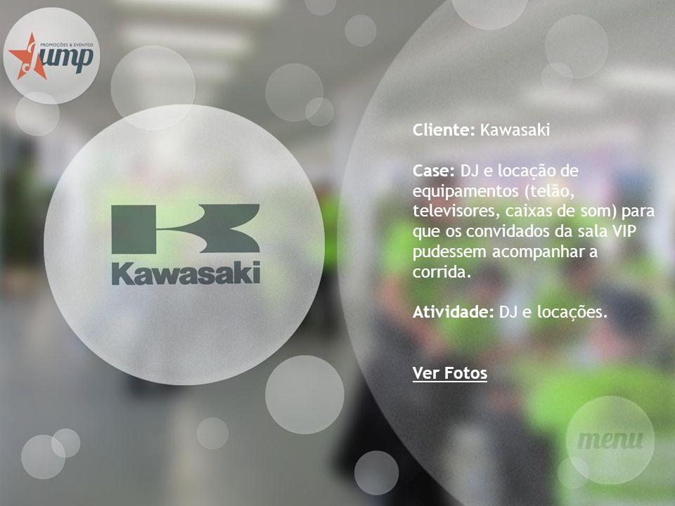 Cliente: Kawasaki Case: DJ e locação de equipamentos (telão, televisores, caixas de som) para que os convidados da sala VIP pudessem acompanhar a corr