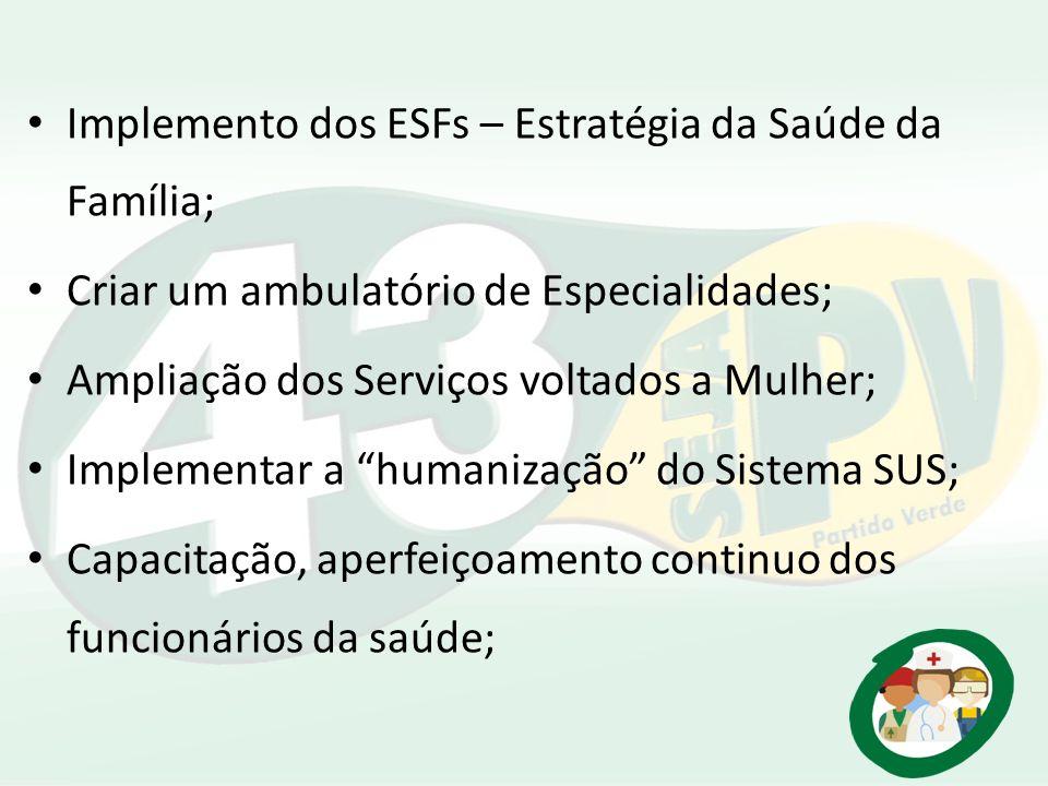 Implemento dos ESFs – Estratégia da Saúde da Família; Criar um ambulatório de Especialidades; Ampliação dos Serviços voltados a Mulher; Implementar a