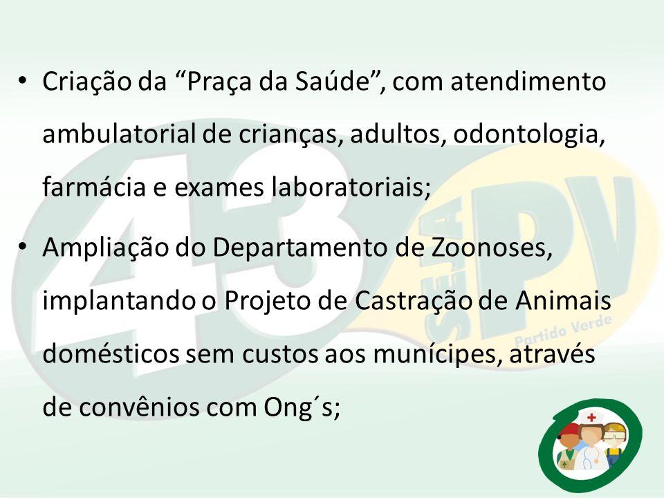 Criação da Praça da Saúde, com atendimento ambulatorial de crianças, adultos, odontologia, farmácia e exames laboratoriais; Ampliação do Departamento