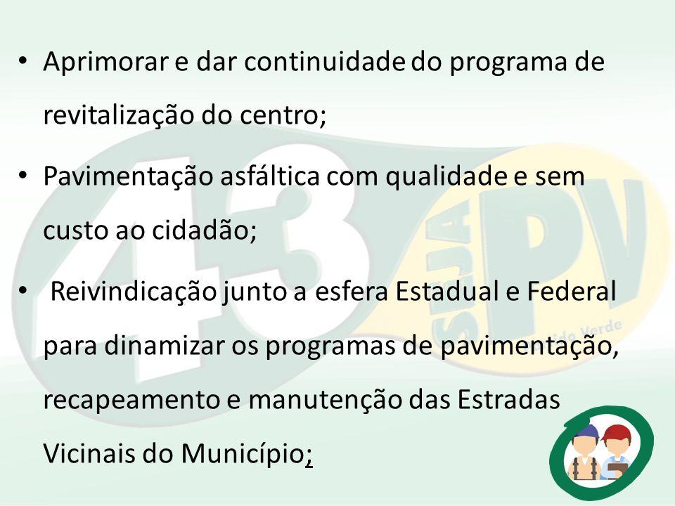 Aprimorar e dar continuidade do programa de revitalização do centro; Pavimentação asfáltica com qualidade e sem custo ao cidadão; Reivindicação junto