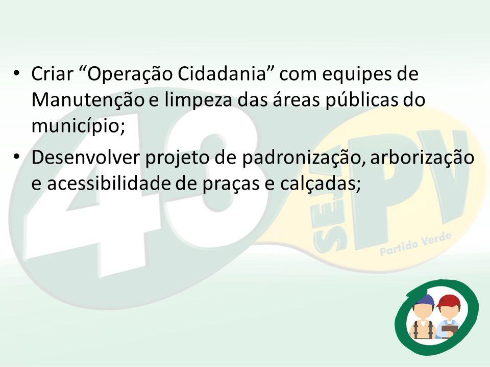 Criar Operação Cidadania com equipes de Manutenção e limpeza das áreas públicas do município; Desenvolver projeto de padronização, arborização e acess
