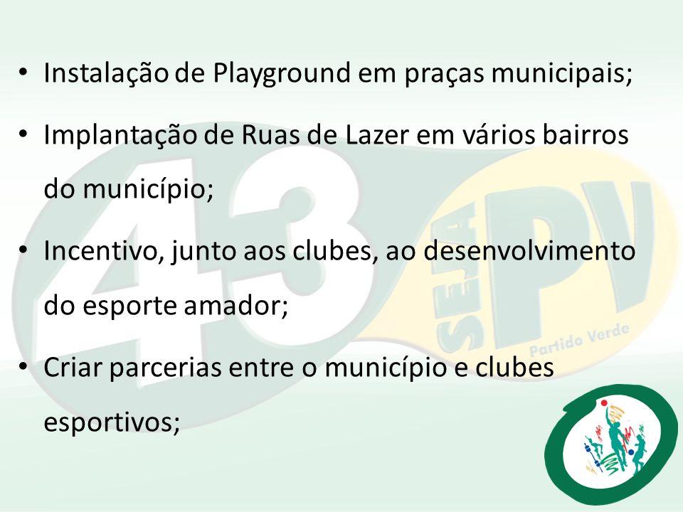 Instalação de Playground em praças municipais; Implantação de Ruas de Lazer em vários bairros do município; Incentivo, junto aos clubes, ao desenvolvi