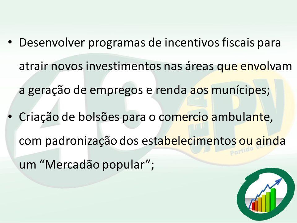 Desenvolver programas de incentivos fiscais para atrair novos investimentos nas áreas que envolvam a geração de empregos e renda aos munícipes; Criaçã