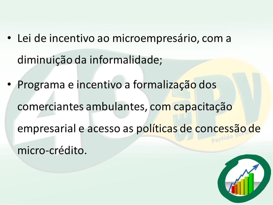 Lei de incentivo ao microempresário, com a diminuição da informalidade; Programa e incentivo a formalização dos comerciantes ambulantes, com capacitaç
