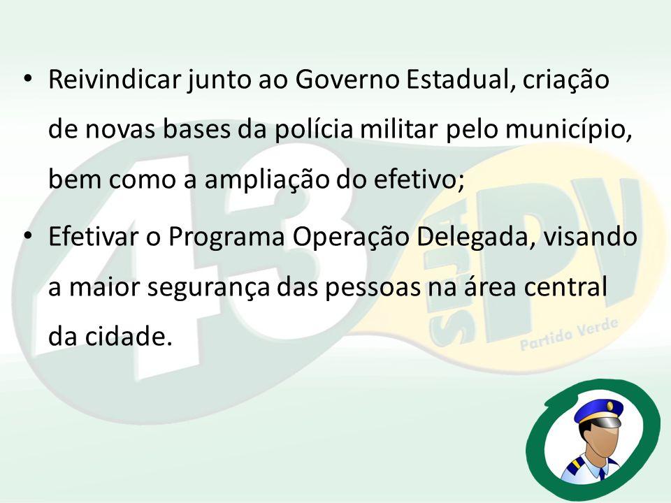 Reivindicar junto ao Governo Estadual, criação de novas bases da polícia militar pelo município, bem como a ampliação do efetivo; Efetivar o Programa