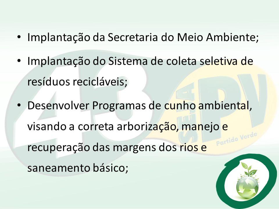 Implantação da Secretaria do Meio Ambiente; Implantação do Sistema de coleta seletiva de resíduos recicláveis; Desenvolver Programas de cunho ambienta