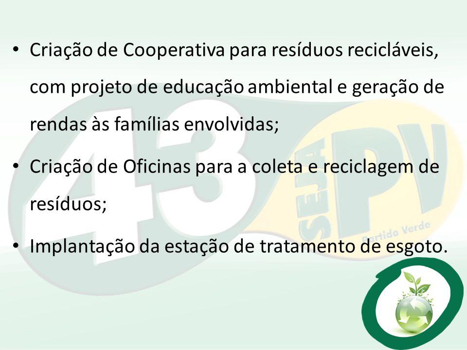 Criação de Cooperativa para resíduos recicláveis, com projeto de educação ambiental e geração de rendas às famílias envolvidas; Criação de Oficinas pa