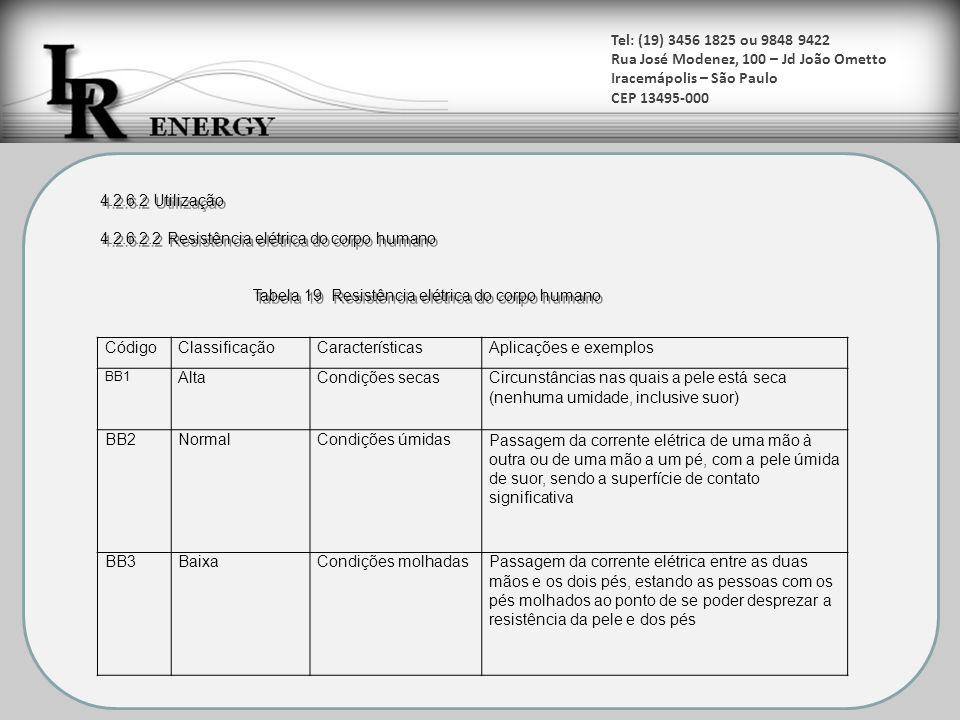 Tel: (19) 3456 1825 ou 9848 9422 Rua José Modenez, 100 – Jd João Ometto Iracemápolis – São Paulo CEP 13495-000 CódigoClassificaçãoCaracterísticasAplic