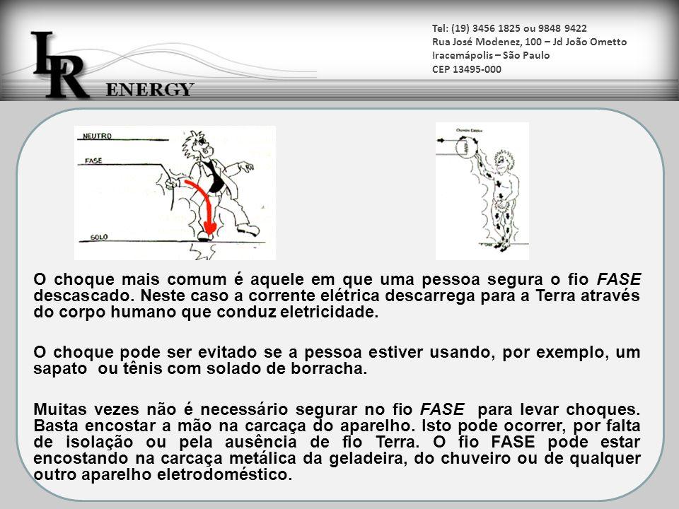 Tel: (19) 3456 1825 ou 9848 9422 Rua José Modenez, 100 – Jd João Ometto Iracemápolis – São Paulo CEP 13495-000 O pior dos choques ocorre quando a pessoa segura 2 fios fases (220 V).
