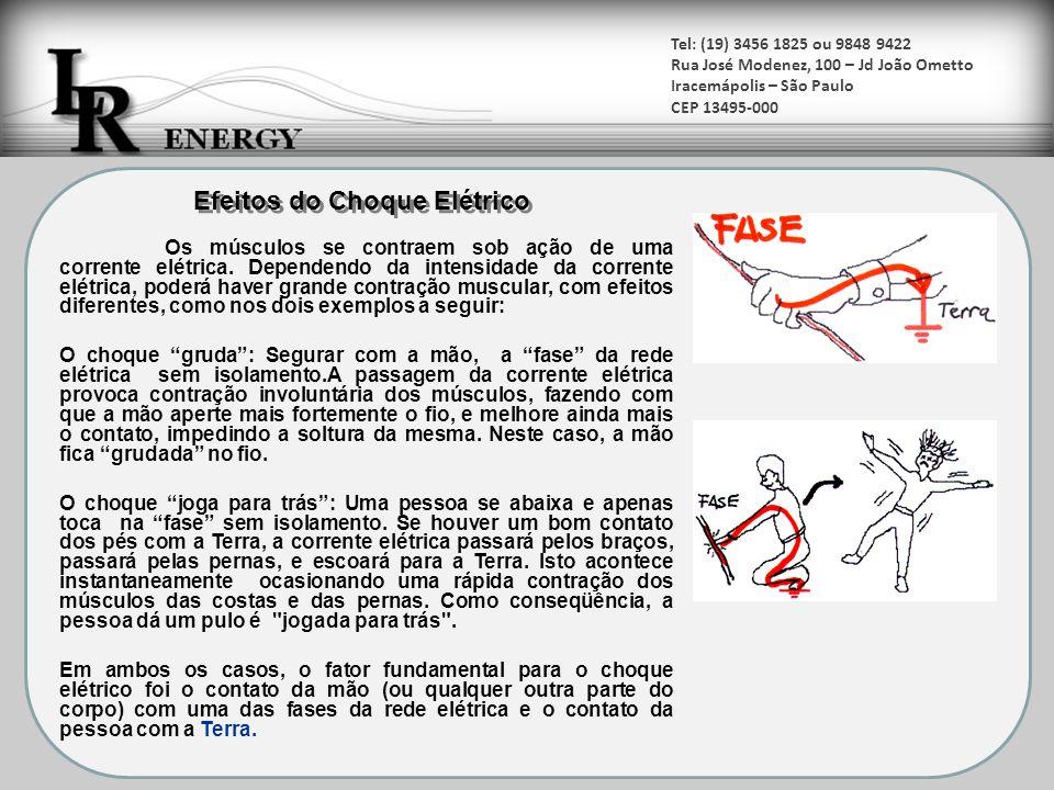 Tel: (19) 3456 1825 ou 9848 9422 Rua José Modenez, 100 – Jd João Ometto Iracemápolis – São Paulo CEP 13495-000 Térmicos Queimaduras decorrentes da grande quantidade de corrente elétrica, gerando calor (Efeito Joule).