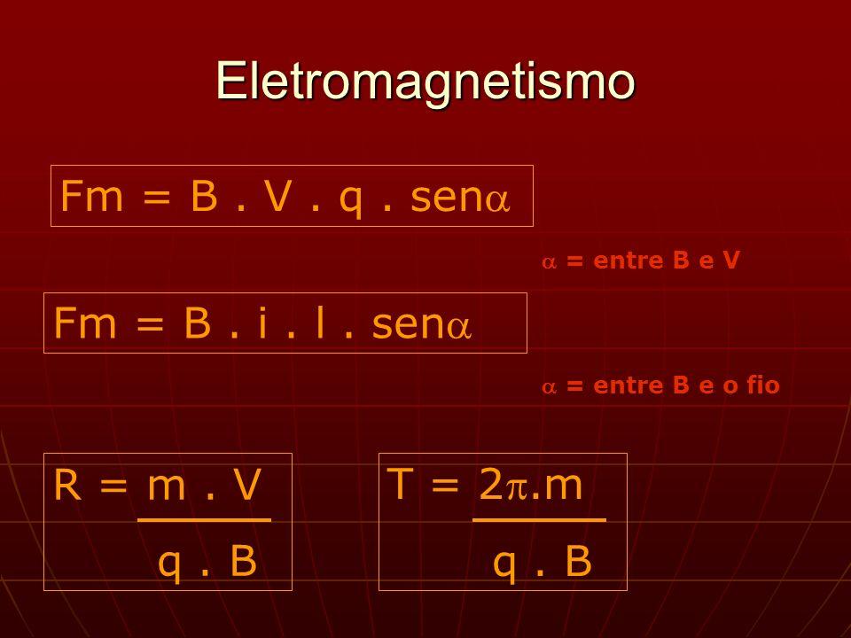 Eletromagnetismo Fm = B.V. q. sen = entre B e V Fm = B.