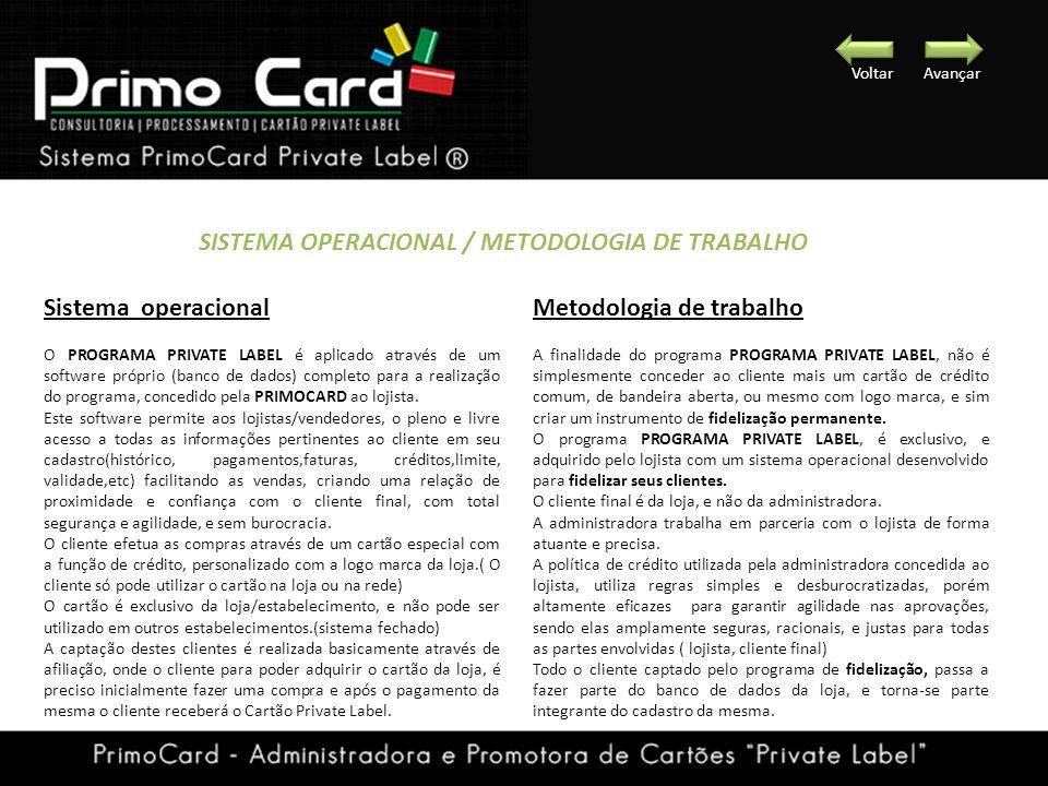 Sistema operacional O PROGRAMA PRIVATE LABEL é aplicado através de um software próprio (banco de dados) completo para a realização do programa, conced