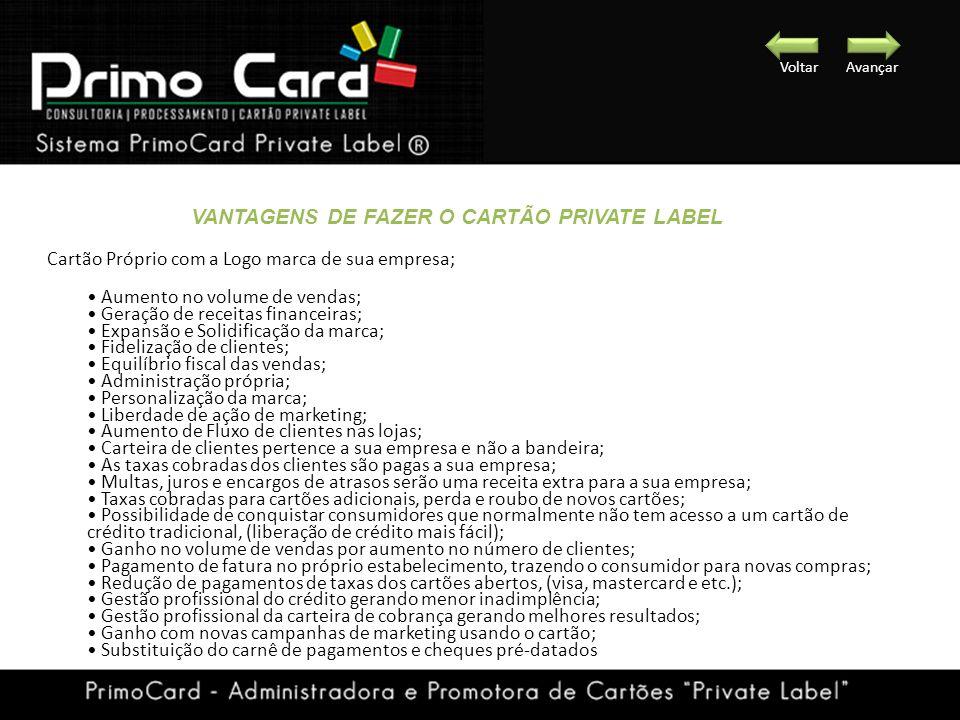 Cartão Próprio com a Logo marca de sua empresa; Aumento no volume de vendas; Geração de receitas financeiras; Expansão e Solidificação da marca; Fidel