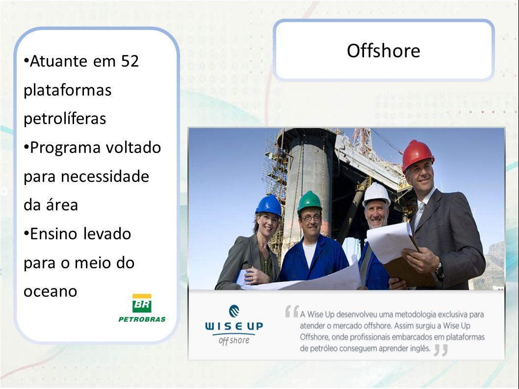 Offshore Atuante em 52 plataformas petrolíferas Programa voltado para necessidade da área Ensino levado para o meio do oceano