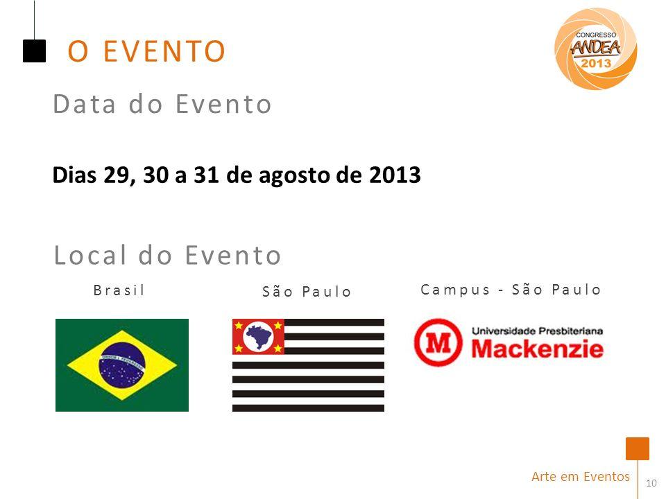 10 Brasil São Paulo Local do Evento Arte em Eventos Campus - São Paulo Dias 29, 30 a 31 de agosto de 2013 Data do Evento O EVENTO