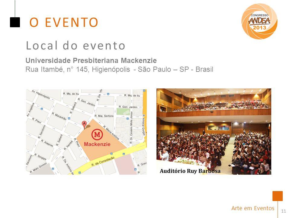 11 Local do evento Arte em Eventos Universidade Presbiteriana Mackenzie Rua Itambé, n° 145, Higienópolis - São Paulo – SP - Brasil O EVENTO