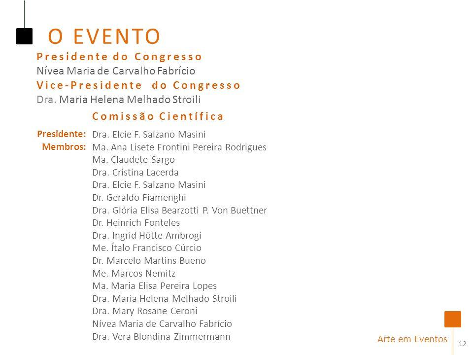 12 Arte em Eventos Comissão Científica O EVENTO Presidente do Congresso Nívea Maria de Carvalho Fabrício Vice-Presidente do Congresso Dra.