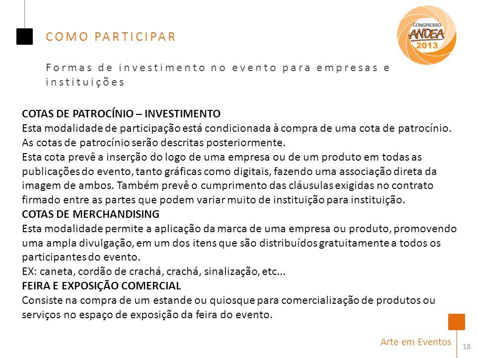 18 Arte em Eventos COMO PARTICIPAR Formas de investimento no evento para empresas e instituições COTAS DE PATROCÍNIO – INVESTIMENTO Esta modalidade de participação está condicionada à compra de uma cota de patrocínio.