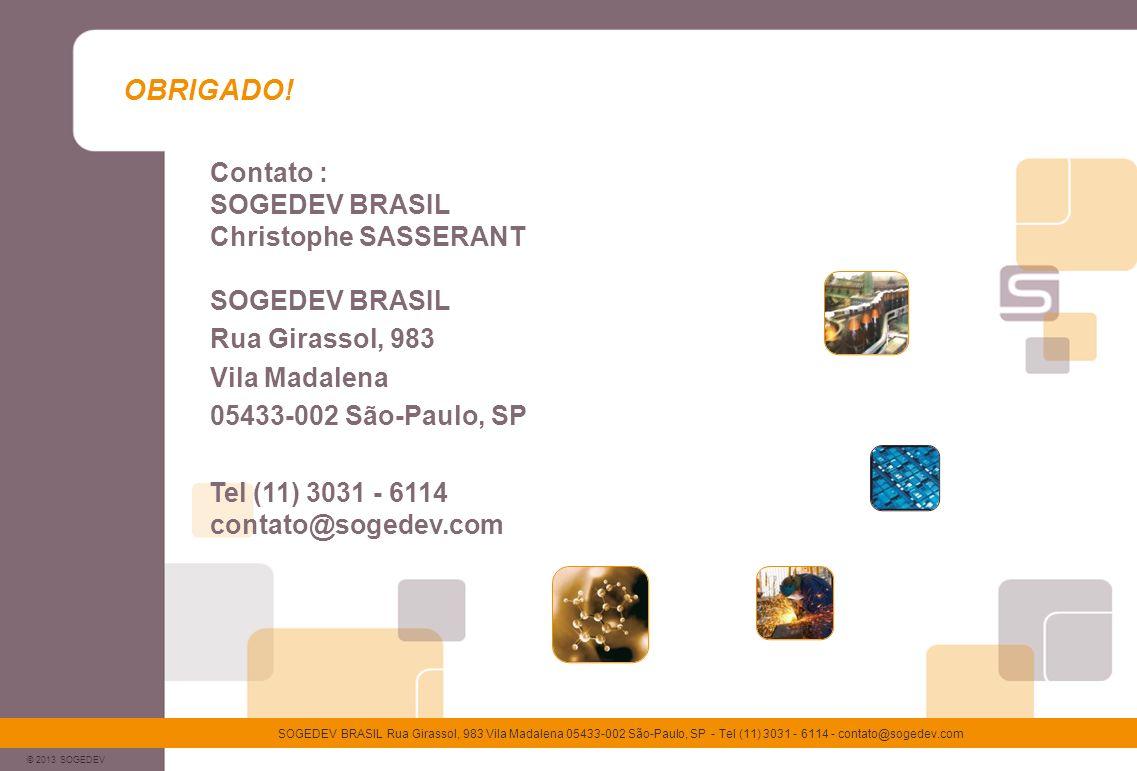 © 2013 SOGEDEV SOGEDEV BRASIL Rua Girassol, 983 Vila Madalena 05433-002 São-Paulo, SP - Tel (11) 3031 - 6114 - contato@sogedev.com OBRIGADO! Contato :