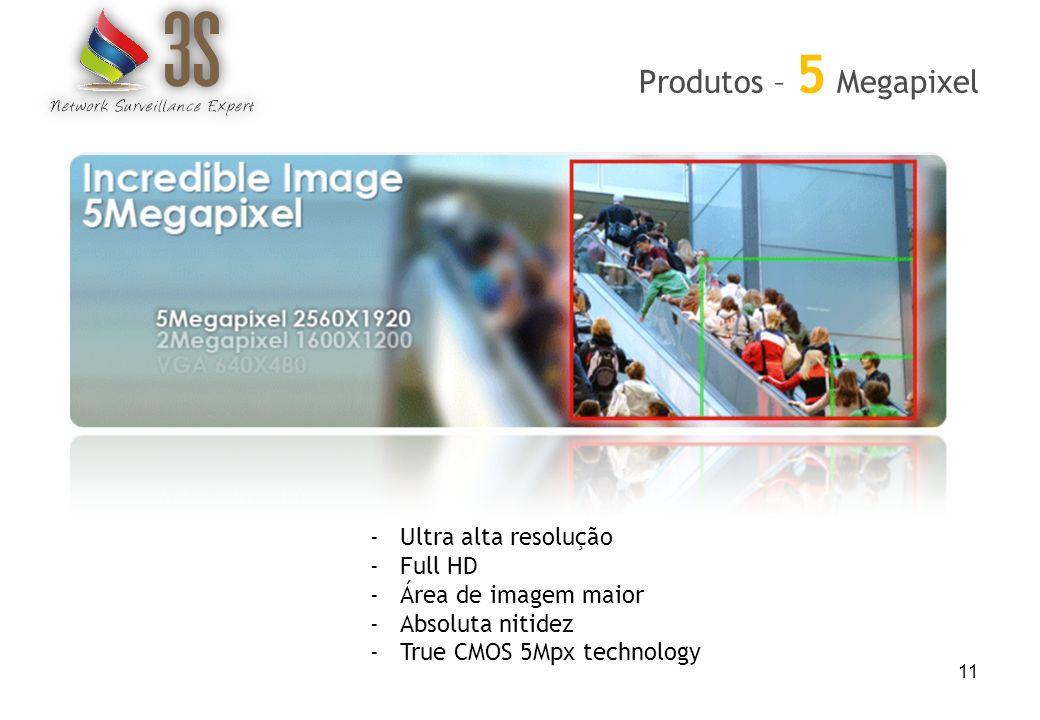 11 Produtos – 5 Megapixel -Ultra alta resolução -Full HD -Área de imagem maior -Absoluta nitidez -True CMOS 5Mpx technology
