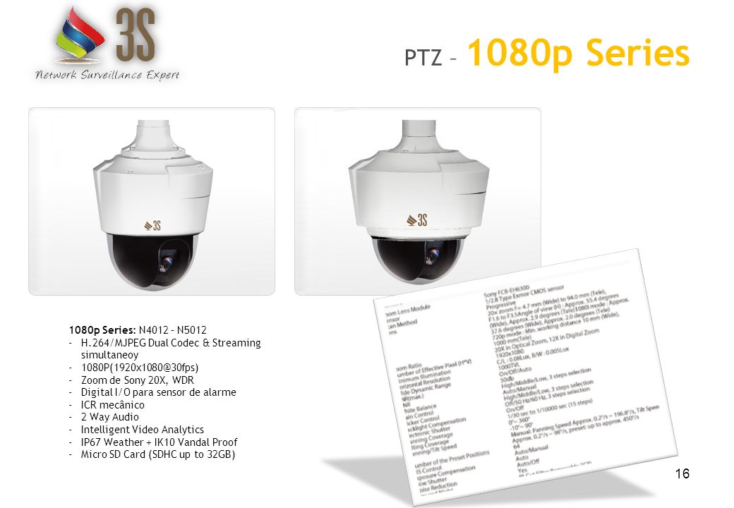 16 PTZ – 1080p Series 1080p Series: N4012 – N5012 -H.264/MJPEG Dual Codec & Streaming simultaneoy -1080P(1920x1080@30fps) -Zoom de Sony 20X, WDR -Digi