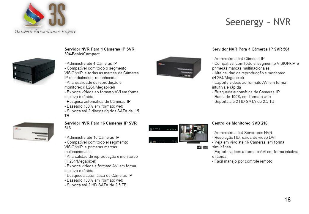 18 Servidor NVR Para 4 Câmeras IP SVR- 304-Basic/Compact - Administre até 4 Câmeras IP - Compatível com todo o segmento VISIONxIP e todas as marcas de