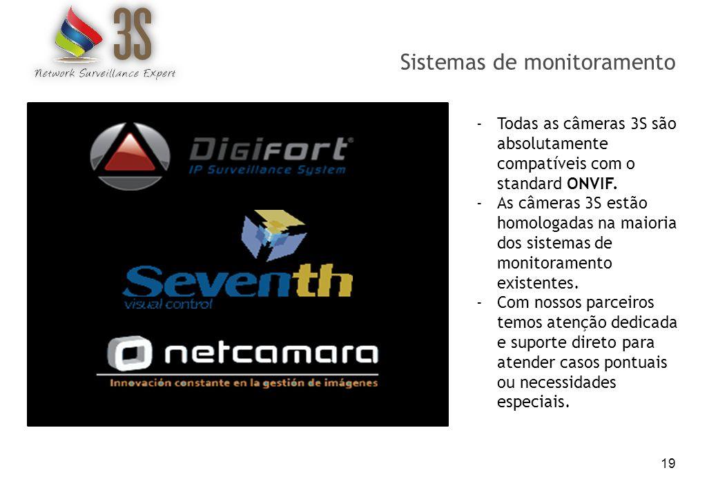 Sistemas de monitoramento 19 -Todas as câmeras 3S são absolutamente compatíveis com o standard ONVIF. -As câmeras 3S estão homologadas na maioria dos