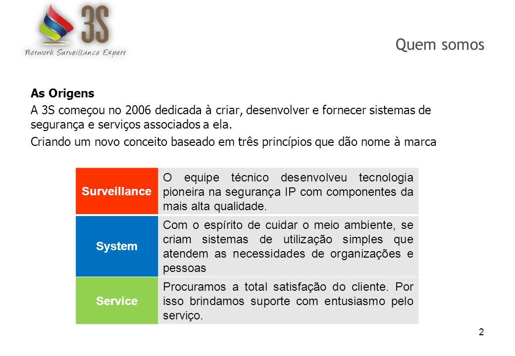 Quem somos As Origens A 3S começou no 2006 dedicada à criar, desenvolver e fornecer sistemas de segurança e serviços associados a ela. Criando um novo