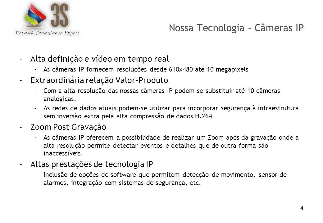 Nossa Tecnologia – Câmeras IP -Alta definição e vídeo em tempo real -As câmeras IP fornecem resoluções desde 640x480 até 10 megapixels -Extraordinária