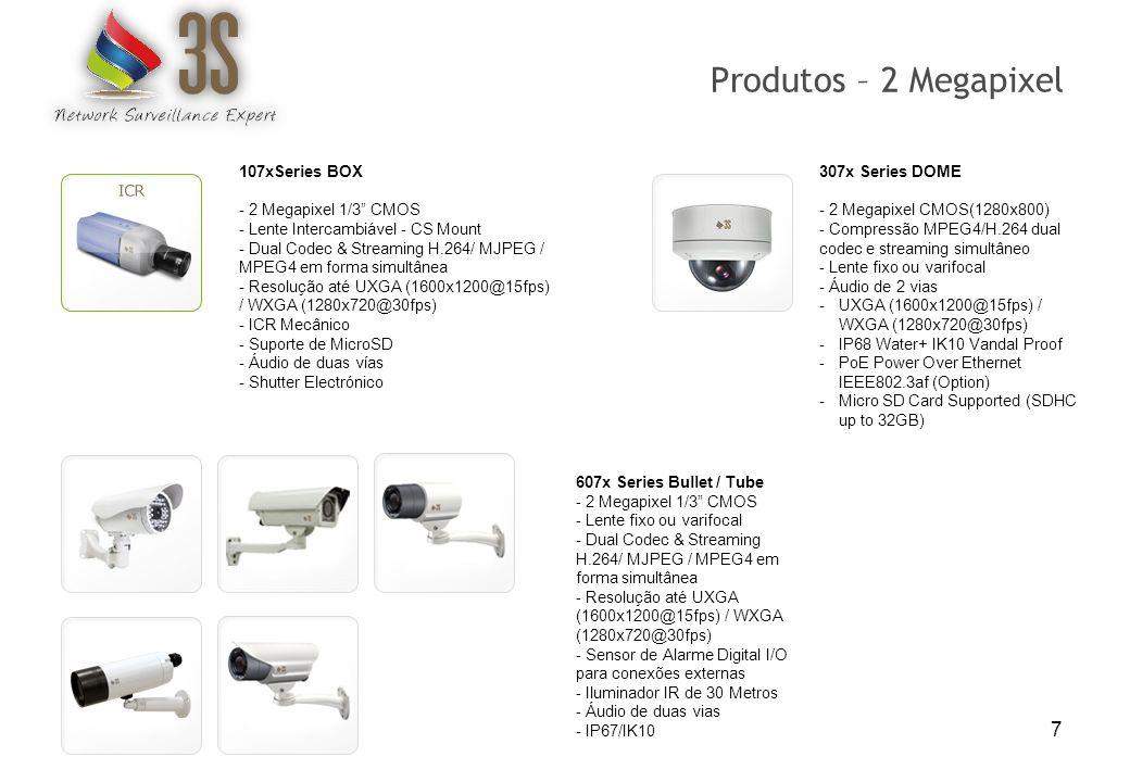 8 807x CUBE Series -2 Megapixel CMOS(1280x800) -Compressão MPEG4/H.264 dual codec e streaming simultâneo -Lente fixo 3,8mm -Áudio de 2 vias -UXGA (1600x1200@15fps) / WXGA (1280x720@30fps) -PoE Power Over Ethernet IEEE802.3af (Option) -Micro SD Card Supported (SDHC up to 32Gb) 907x MINIDOME Series - 2 Megapixel 1/3 CMOS - Lente fixo ou varifocal (3.6mm ou 3~10mm) - Dual Codec & Streaming H.264/ MJPEG / MPEG4 em forma simultânea - Resolução até UXGA (1600x1200@15fps) / WXGA (1280x720@30fps) - Sensor de Alarme Digital I/O para conexões externas - Iluminador IR de 10 Metros - Áudio de duas vías - Ceiling/wall mount