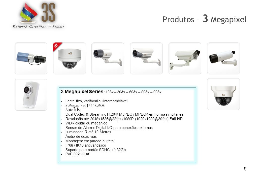 9 Produtos – 3 Megapixel 3 Megapixel Series : 103x – 303x – 603x – 803x – 903x -Lente fixo, varifocal ou Intercambiável -3 Megapixel 1/4 CMOS -Auto Ir