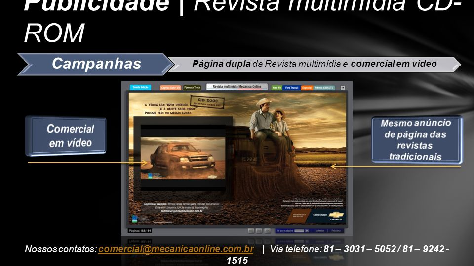 Campanhas Página dupla da Revista multimídia e comercial em vídeo Publicidade | Revista multimídia CD- ROM Nossos contatos: comercial@mecanicaonline.c