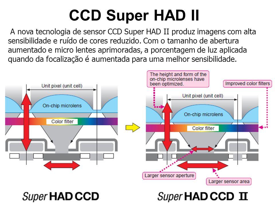 CCD Super HAD II A nova tecnologia de sensor CCD Super HAD II produz imagens com alta sensibilidade e ruído de cores reduzido.