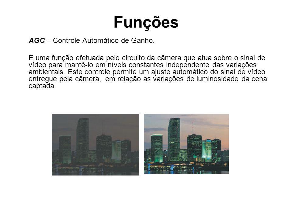 AGC – Controle Automático de Ganho. É uma função efetuada pelo circuito da câmera que atua sobre o sinal de vídeo para mantê-lo em níveis constantes i