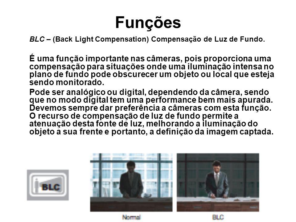 BLC – (Back Light Compensation) Compensação de Luz de Fundo. É uma função importante nas câmeras, pois proporciona uma compensação para situações onde