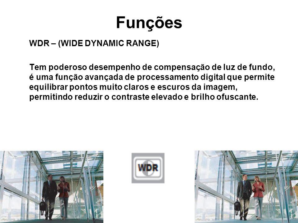 WDR – (WIDE DYNAMIC RANGE) Tem poderoso desempenho de compensação de luz de fundo, é uma função avançada de processamento digital que permite equilibr