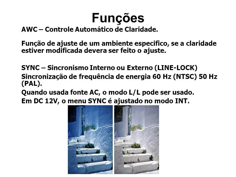 AWC – Controle Automático de Claridade. Função de ajuste de um ambiente especifico, se a claridade estiver modificada devera ser feito o ajuste. SYNC