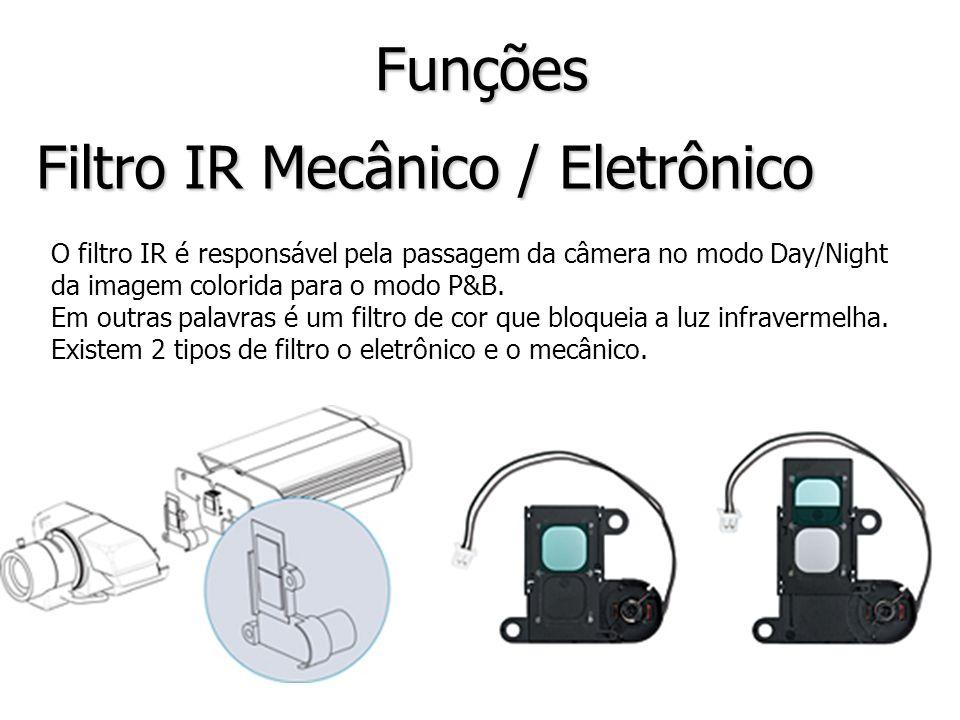 Filtro IR Mecânico / Eletrônico Funções O filtro IR é responsável pela passagem da câmera no modo Day/Night da imagem colorida para o modo P&B. Em out