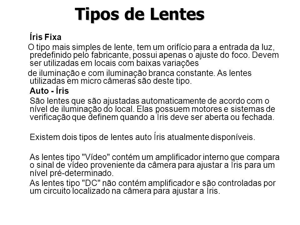 Tipos de Lentes Íris Fixa O tipo mais simples de lente, tem um orifício para a entrada da luz, predefinido pelo fabricante, possui apenas o ajuste do
