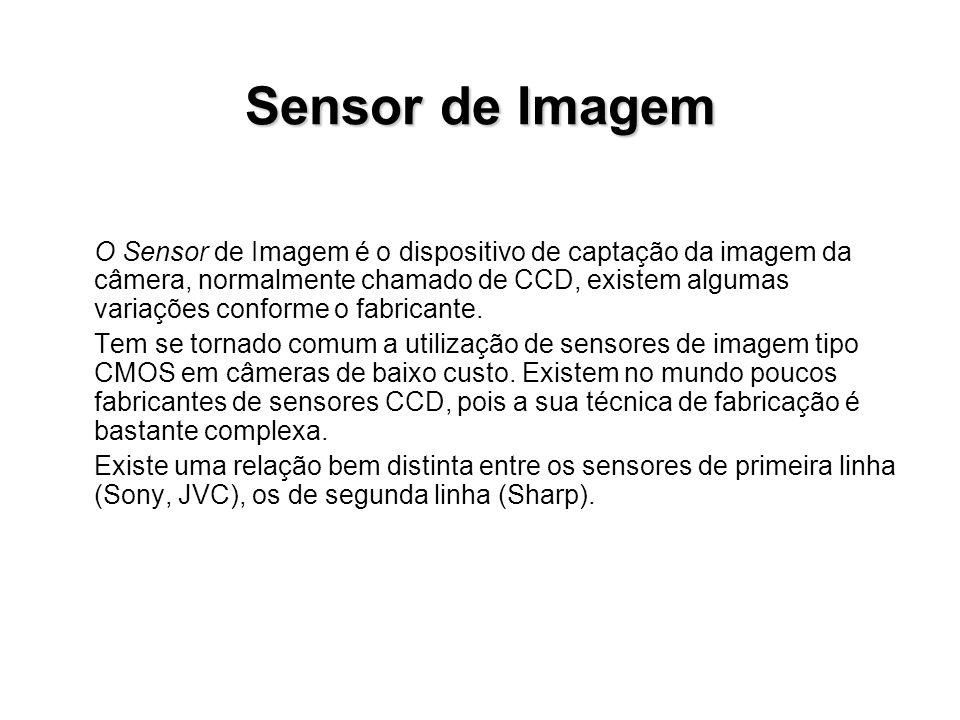 Sensor de Imagem O Sensor de Imagem é o dispositivo de captação da imagem da câmera, normalmente chamado de CCD, existem algumas variações conforme o