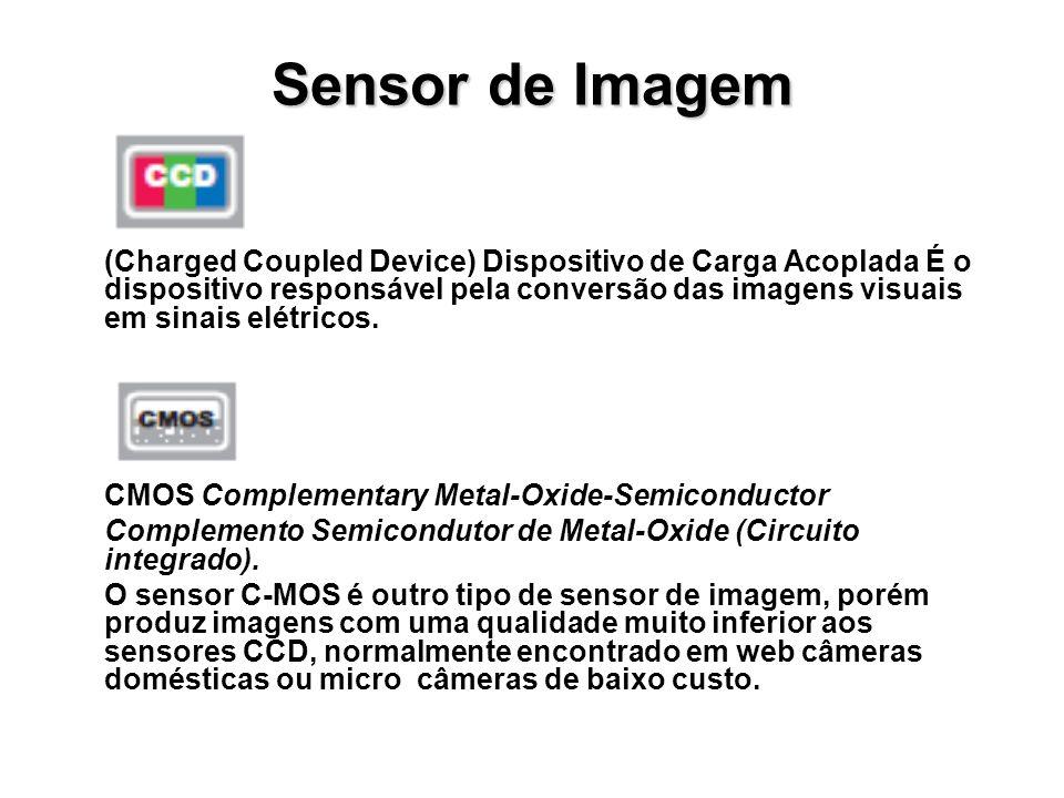 Sensor de Imagem (Charged Coupled Device) Dispositivo de Carga Acoplada É o dispositivo responsável pela conversão das imagens visuais em sinais elétr