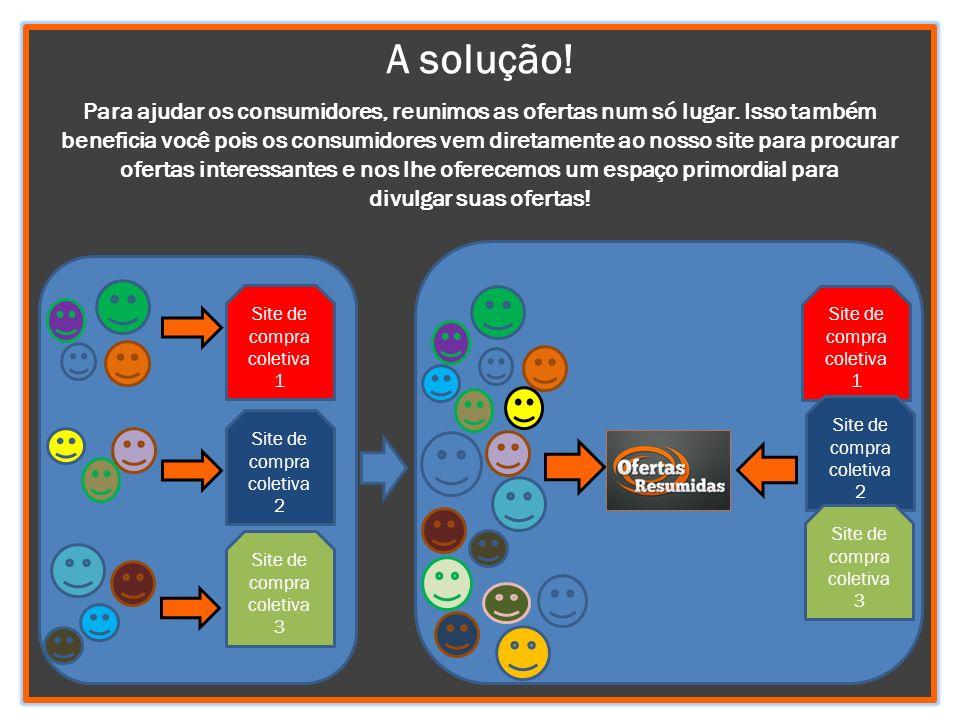 A solução! Para ajudar os consumidores, reunimos as ofertas num só lugar. Isso também beneficia você pois os consumidores vem diretamente ao nosso sit