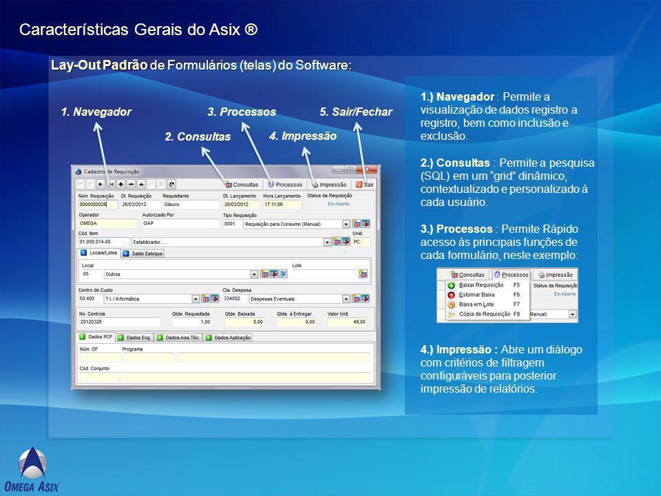 Características Gerais do Asix ® Lay-Out Padrão de Formulários (telas) do Software: 1.