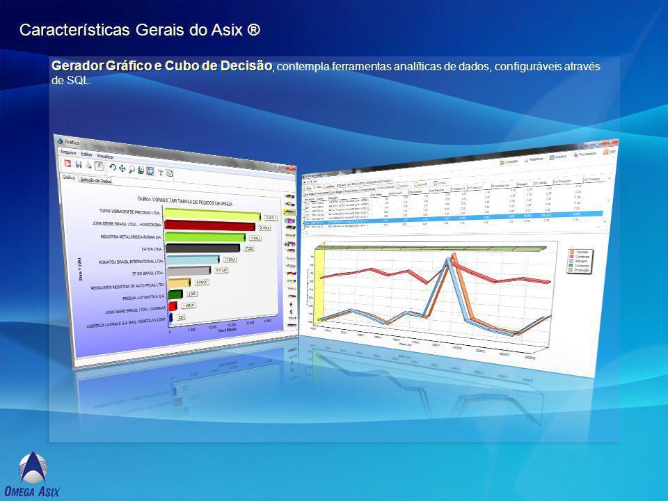 Características Gerais do Asix ® Gerador Gráfico e Cubo de Decisão Gerador Gráfico e Cubo de Decisão, contempla ferramentas analíticas de dados, configuráveis através de SQL.