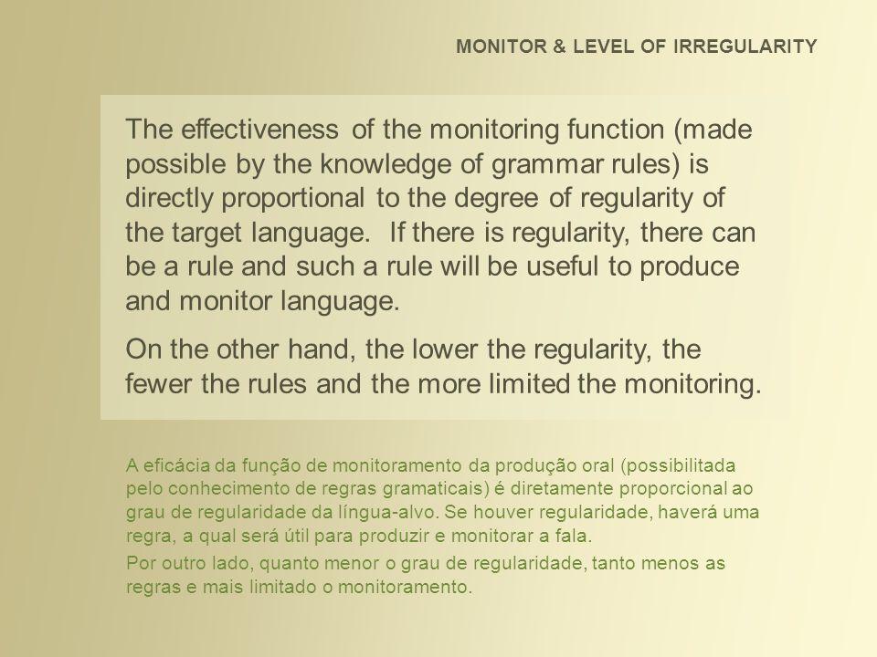 How irregular is English? MONITOR & LEVEL OF IRREGULARITY Qual o grau de irregularidade do inglês?
