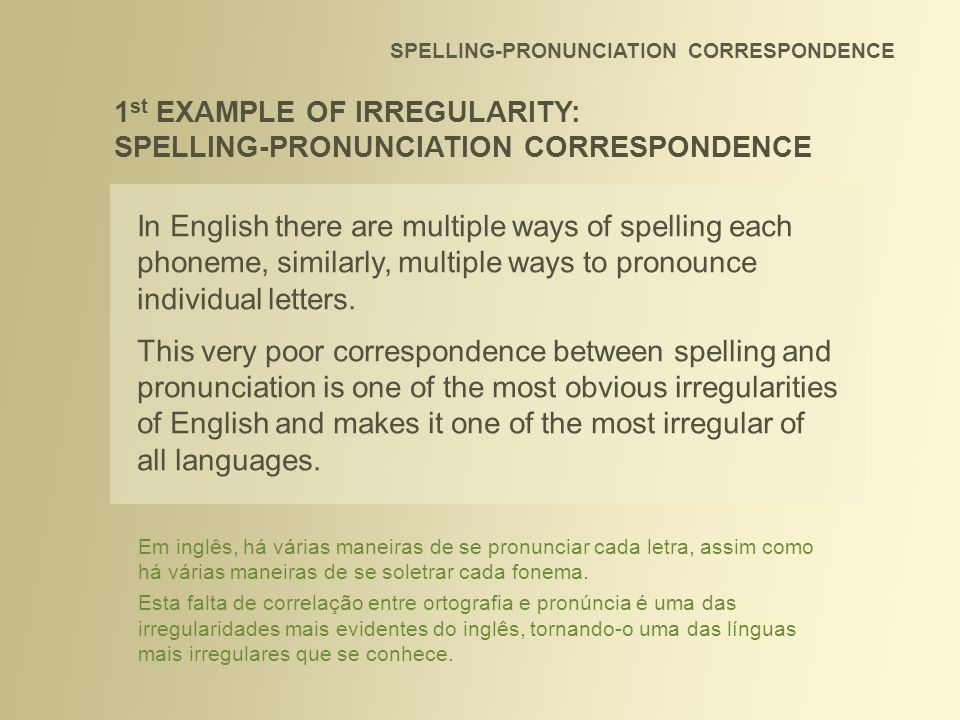 SPELLING-PRONUNCIATION CORRESPONDENCE In English there are multiple ways of spelling each phoneme, similarly, multiple ways to pronounce individual le