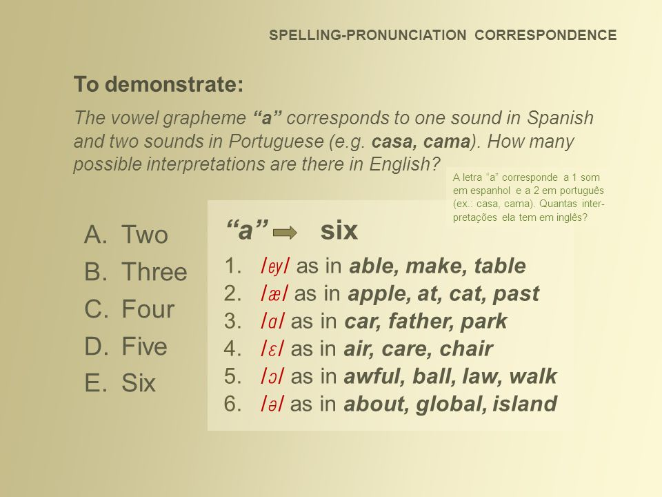 SPELLING-PRONUNCIATION CORRESPONDENCE To demonstrate: The vowel grapheme a corresponds to one sound in Spanish and two sounds in Portuguese (e.g. casa