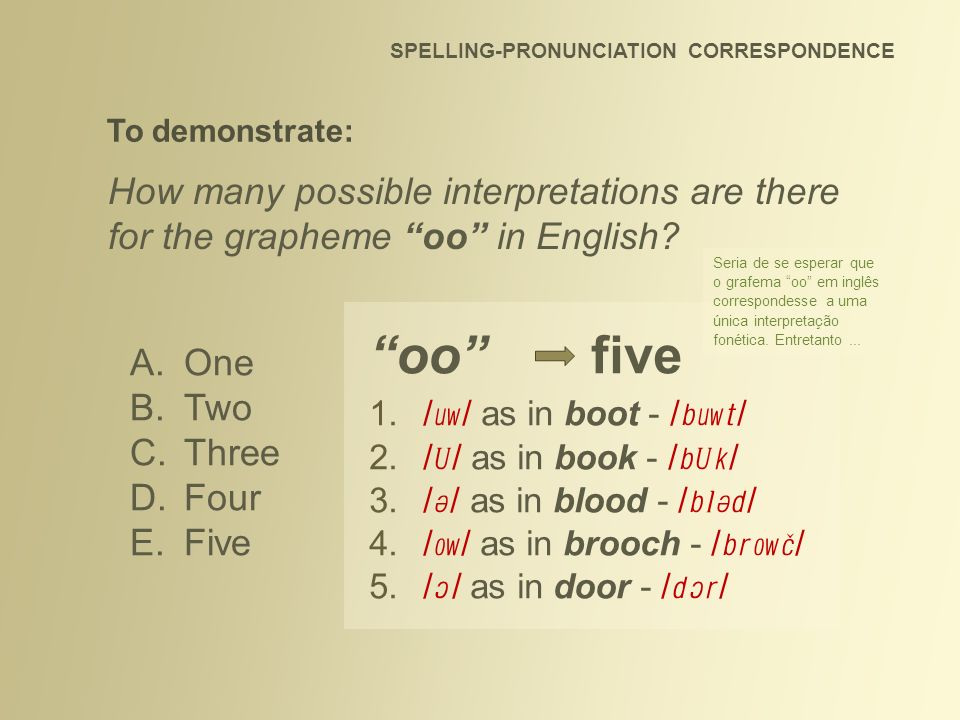 SPELLING-PRONUNCIATION CORRESPONDENCE How many possible interpretations are there for the grapheme oo in English? A.One B.Two C.Three D.Four E.Five To